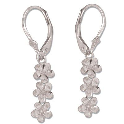 14kt White Gold Triple Plumeria Lever Back Earrings