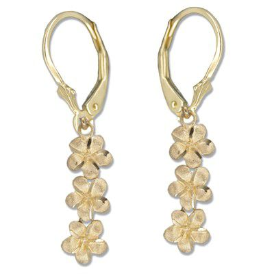 14kt Yellow Gold Triple Plumeria Lever Back Earrings
