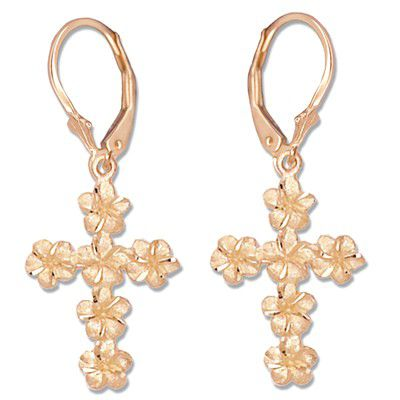 14kt Rose Gold Plumeria Leis Cross Lever Back Earrings