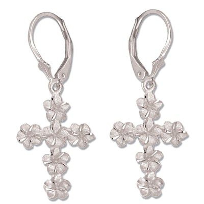 14kt White Gold Plumeria Leis Cross Lever Back Earrings