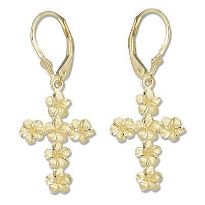 14kt Yellow Gold Plumeria Leis Cross Lever Back Earrings