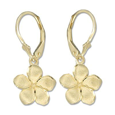 14kt Yellow Gold 12mm Plumeria Lever Back Earrings