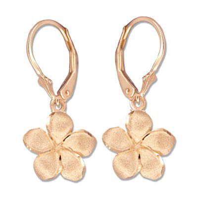 14kt Rose Gold 12mm Plumeria Lever Back Earrings