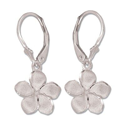 14kt White Gold 12mm Plumeria Lever Back Earrings