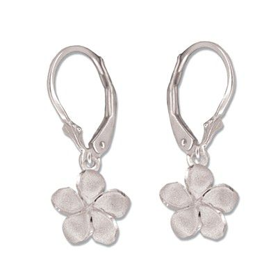 14kt White Gold 10mm Plumeria Lever Back Earrings