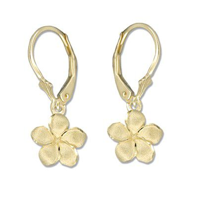 14kt Yellow Gold 10mm Plumeria Lever Back Earrings