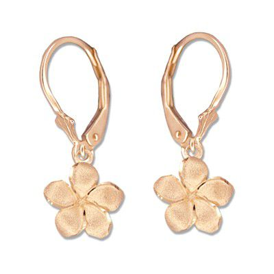 14kt Rose Gold 10mm Plumeria Lever Back Earrings