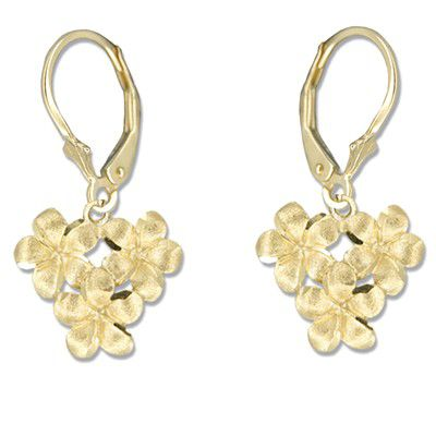 14kt Yellow Gold 8mm Plumeria Blossoms Lever Back Earrings