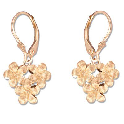14kt Rose Gold 8mm Plumeria Blossoms Lever Back Earrings