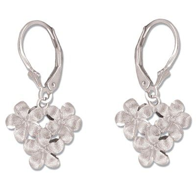 14kt White Gold 8mm Plumeria Blossoms Lever Back Earrings