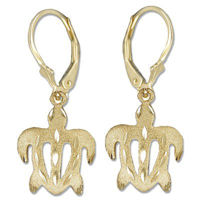 14kt Yellow Gold Hawaiian Honu (Turtle) Lever Back Earrings