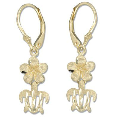 14kt Yellow Gold 8mm Hawaiian Plumeria and Cut-Out HONU Lever Back Earrings