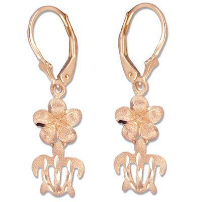 14kt Rose Gold 8mm Hawaiian Plumeria and Cut-Out HONU Lever Back Earrings