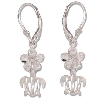 14kt White Gold 8mm Hawaiian Plumeria and Cut-Out HONU Lever Back Earrings