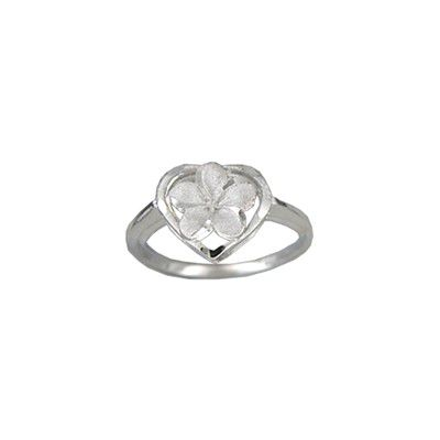 14kt White Gold Plumeria Heart Ring