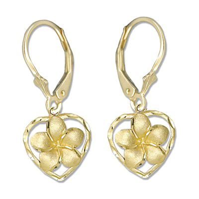 14kt Yellow Gold Plumeria Heart Lever Back Earrings