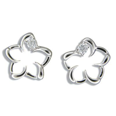 Sterling Silver Cut-Out Hawaiian Plumeria with CZ Pierced Earrings