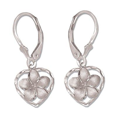 14kt White Gold Plumeria Heart Lever Back Earrings