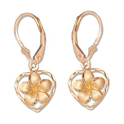 14kt Rose Gold Plumeria Heart Lever Back Earrings