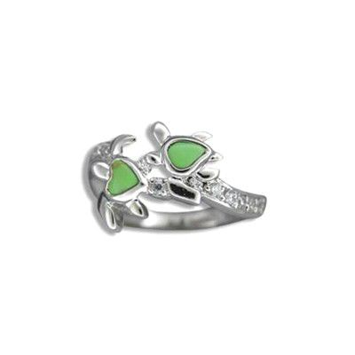 Sterling Silver Douple Hawaiian HONU with Heart Green Turquoise Ring