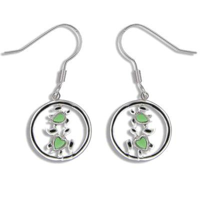 Sterling Silver Double Green Turquoise Hawaiian Honu in Circle Fish Wire Earrings