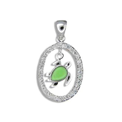 Sterling Silver Hawaiian Green Turquoise Honu in CZ Oval Shaped Pendant
