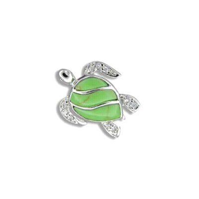 Sterling Silver Fancy Hawaiian Sea Turtle with CZ Green Turquoise Pendant
