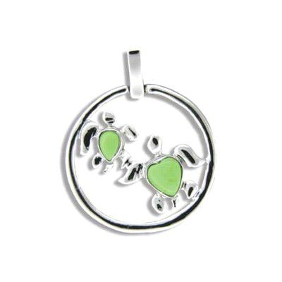 Sterling Silver Double Green Turquoise Hawaiian Honu in Circle Pendant