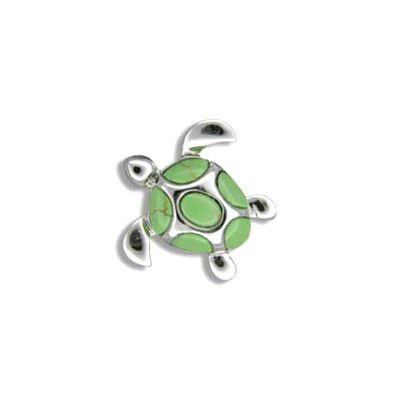 Sterling Silver Hawaiian Sea Turtle Green Turquoise Pendant
