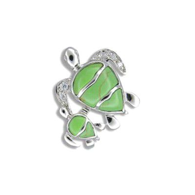 Sterling Silver Hawaiian Mother and Baby Honu Green Turquoise with CZ Pendant