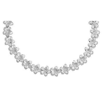 14kt White Gold Hawaiian 7mm Plumeria Leis Necklace