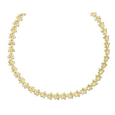 14kt Yellow Gold Hawaiian 7mm Plumeria Leis Necklace