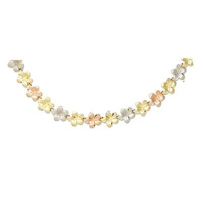14kt Tri-Color Gold Hawaiian 7mm Plumeria Leis Necklace