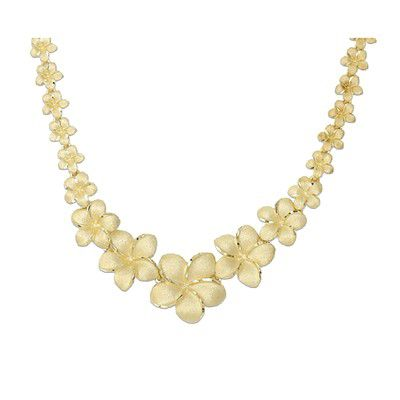 14kt Yellow Gold Hawaiian Plumeria Graduated Necklace