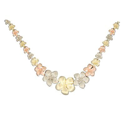 14kt Tri-Color Gold Hawaiian Plumeria Graduated Necklace