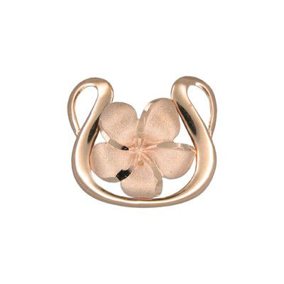 14kt Rose Gold 15mm Hawaii Plumeria with Harp Shaped Pendant