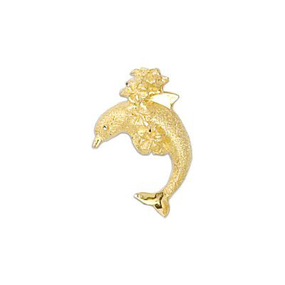 14kt Yellow Gold Jumping Dolphin with Leis Slide Pendant
