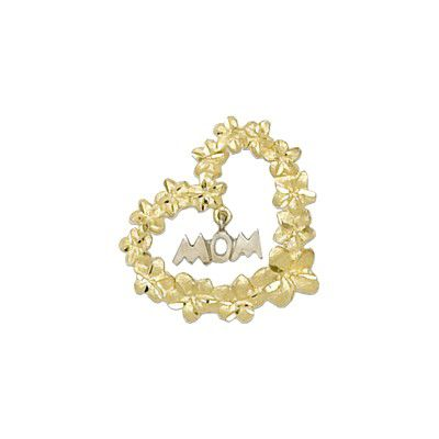 14kt Solid Yellow Gold Plumeria Heart Leis with