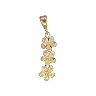 14kt Yellow Gold 7mm Triple Plumeria Pendant