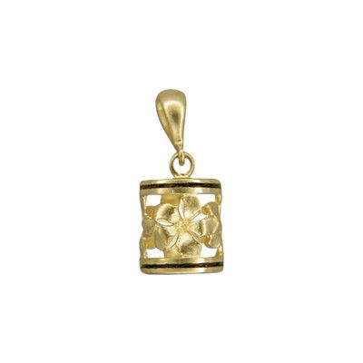 14kt Yellow Gold Hawaiian Sanded Plumeria Lucky Dangling Barrel with Black Border Pendant (L)