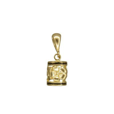 14kt Yellow Gold Hawaiian Sanded Plumeria Lucky Dangling Barrel with Black Border Pendant (S)