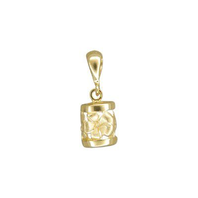 14kt Yellow Gold Hawaiian Sanded Plumeria Lucky Dangling Barrel Pendant (S)