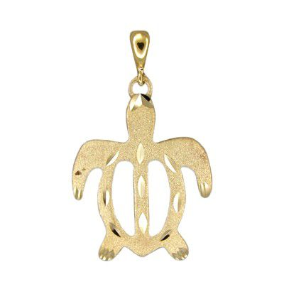 14kt Yellow Gold Hawaiian Honu (Turtle) Pendant (L)