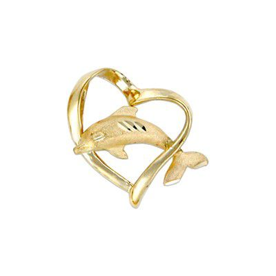 14kt Yellow Gold Hawaiian Dolphin in Heart Slide Pendant