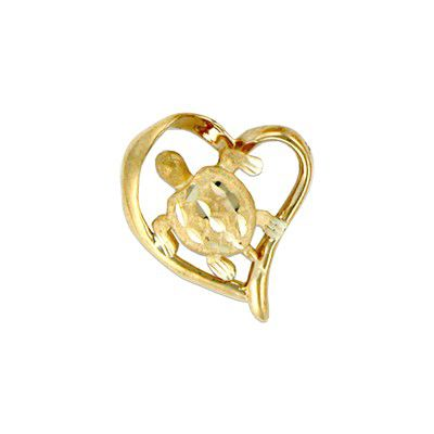 14kt Yellow Gold Hawaiian HONU in Heart Slide Pendant