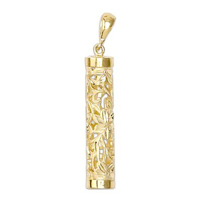 14kt Yellow Gold Hawaiian Hand-Carved Tube Pendant