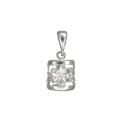 14kt White Gold Hawaiian Sanded Plumeria Lucky Dangling Barrel Pendant