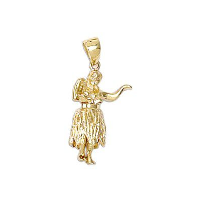 14kt Yellow Gold Hawaiian Hula Girl Pendant (L)