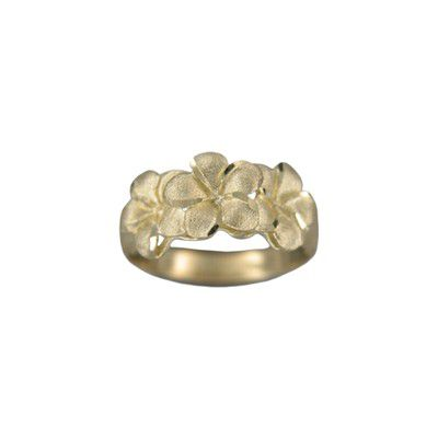 14kt Yellow Gold Triple 8mm Hawaiian Plumeria Flowers Ring