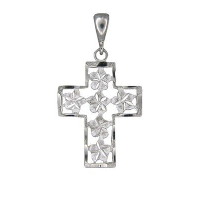 14kt White Gold Hawaiian Plumeria with Outline Cross Pendant